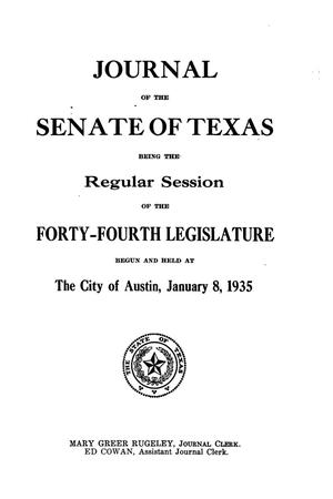 Primary view of object titled 'Journal of the Senate of Texas being the Regular Session of the Forty-Fourth Legislature'.