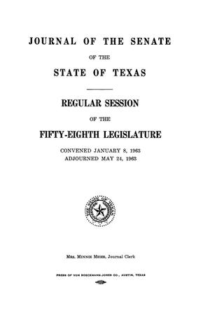 Primary view of object titled 'Journal of the Senate of the State of Texas, Regular Session of the Fifty-Eighth Legislature'.