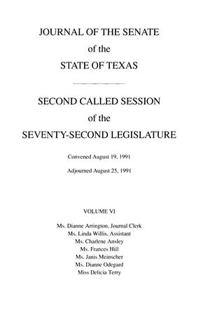 Journal of the Senate of the State of Texas, Second, Third, and Fourth Called Sessions of the Seventy-Second Legislature, Volume 6