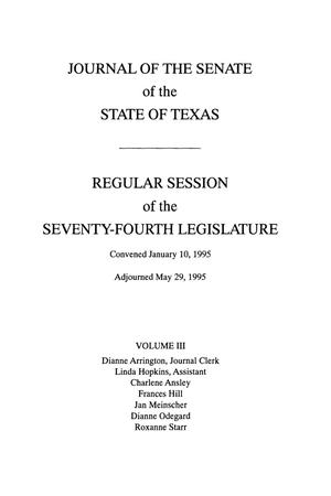 Primary view of object titled 'Journal of the Senate of the State of Texas, Regular Session of the Seventy-Fourth Legislature, Volume 3'.
