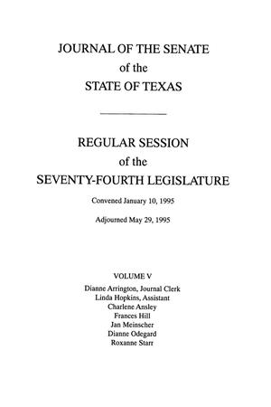 Primary view of object titled 'Journal of the Senate of the State of Texas, Regular Session of the Seventy-Fourth Legislature, Volume 5'.