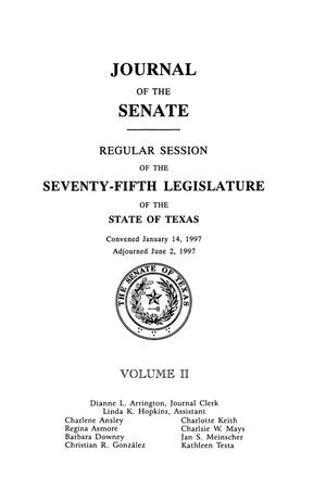 Primary view of object titled 'Journal of the Senate, Regular Session of the Seventy-Fifth Legislature of the State of Texas, Volume 2'.