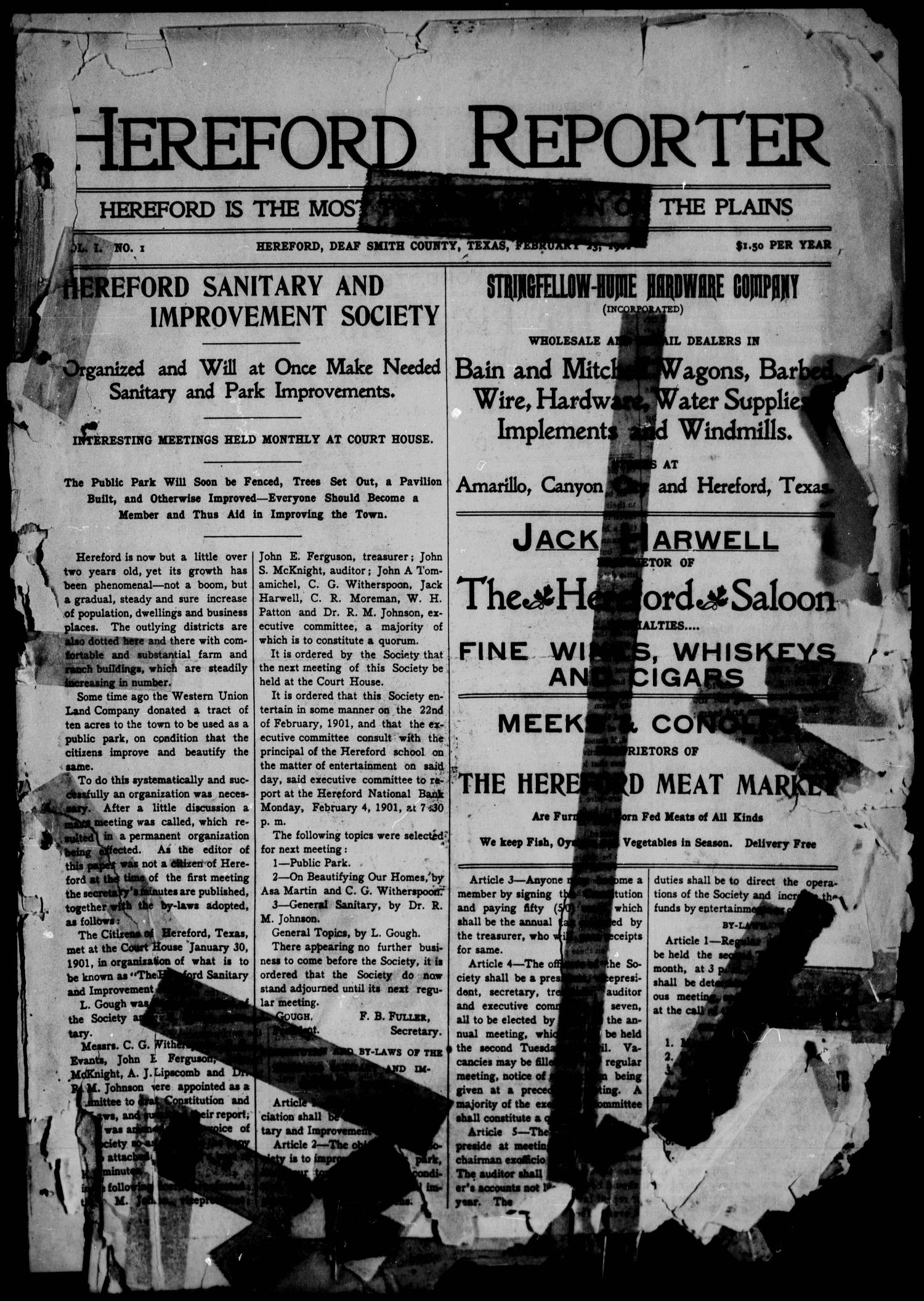Hereford Reporter (Hereford, Tex.), Vol. 1, No. 1, Ed. 1 Saturday, February 23, 1901                                                                                                      [Sequence #]: 1 of 7
