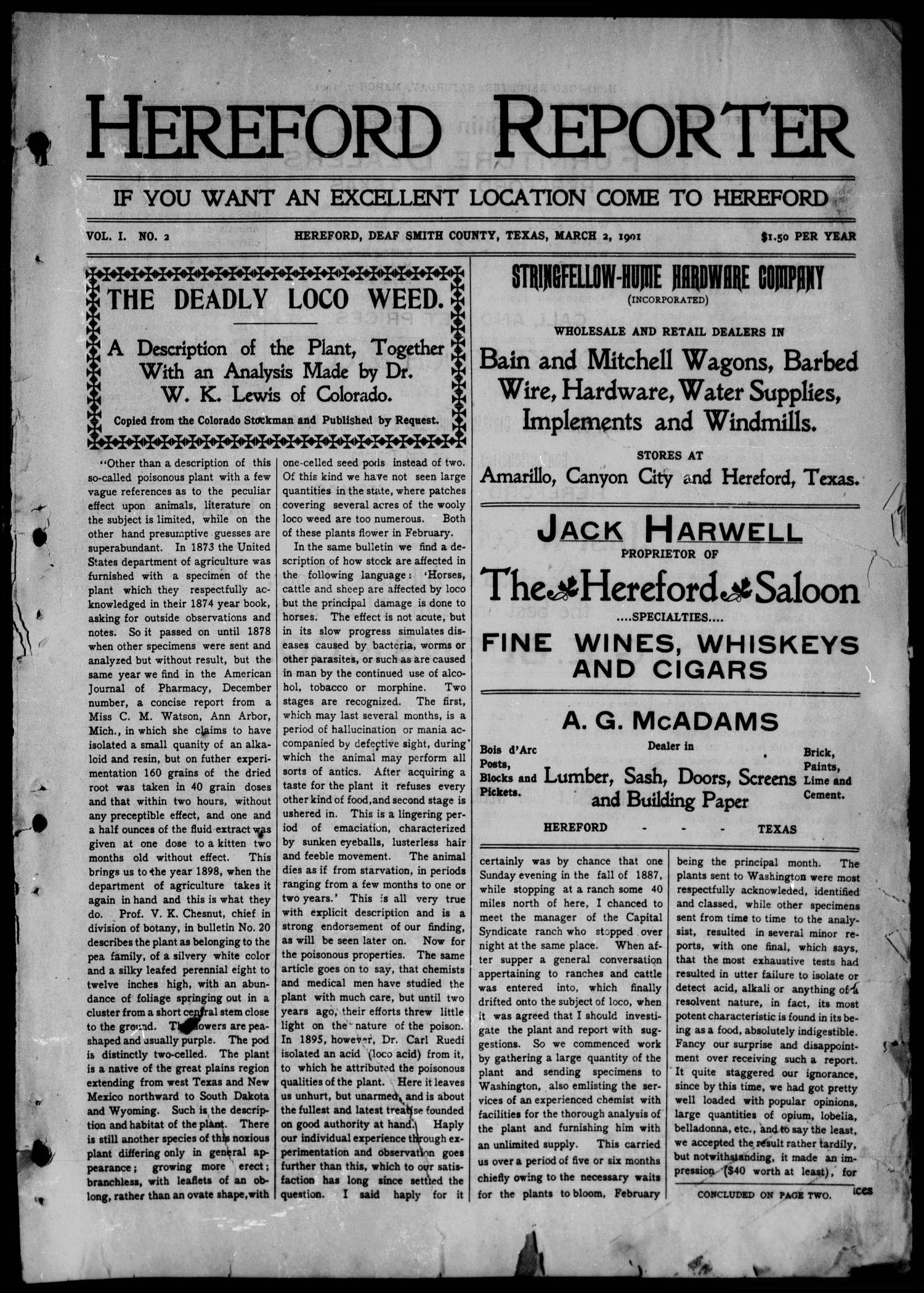 Hereford Reporter (Hereford, Tex.), Vol. 1, No. 2, Ed. 1 Saturday, March 2, 1901                                                                                                      [Sequence #]: 1 of 6