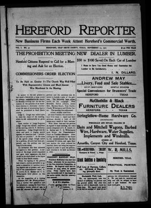 Primary view of object titled 'Hereford Reporter (Hereford, Tex.), Vol. 1, No. 30, Ed. 1 Friday, September 13, 1901'.