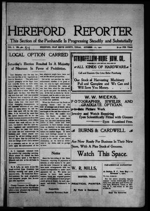 Primary view of object titled 'Hereford Reporter (Hereford, Tex.), Vol. 1, No. 34, Ed. 1 Friday, October 11, 1901'.