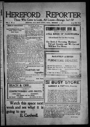 Hereford Reporter (Hereford, Tex.), Vol. 1, No. 37, Ed. 1 Friday, November 1, 1901