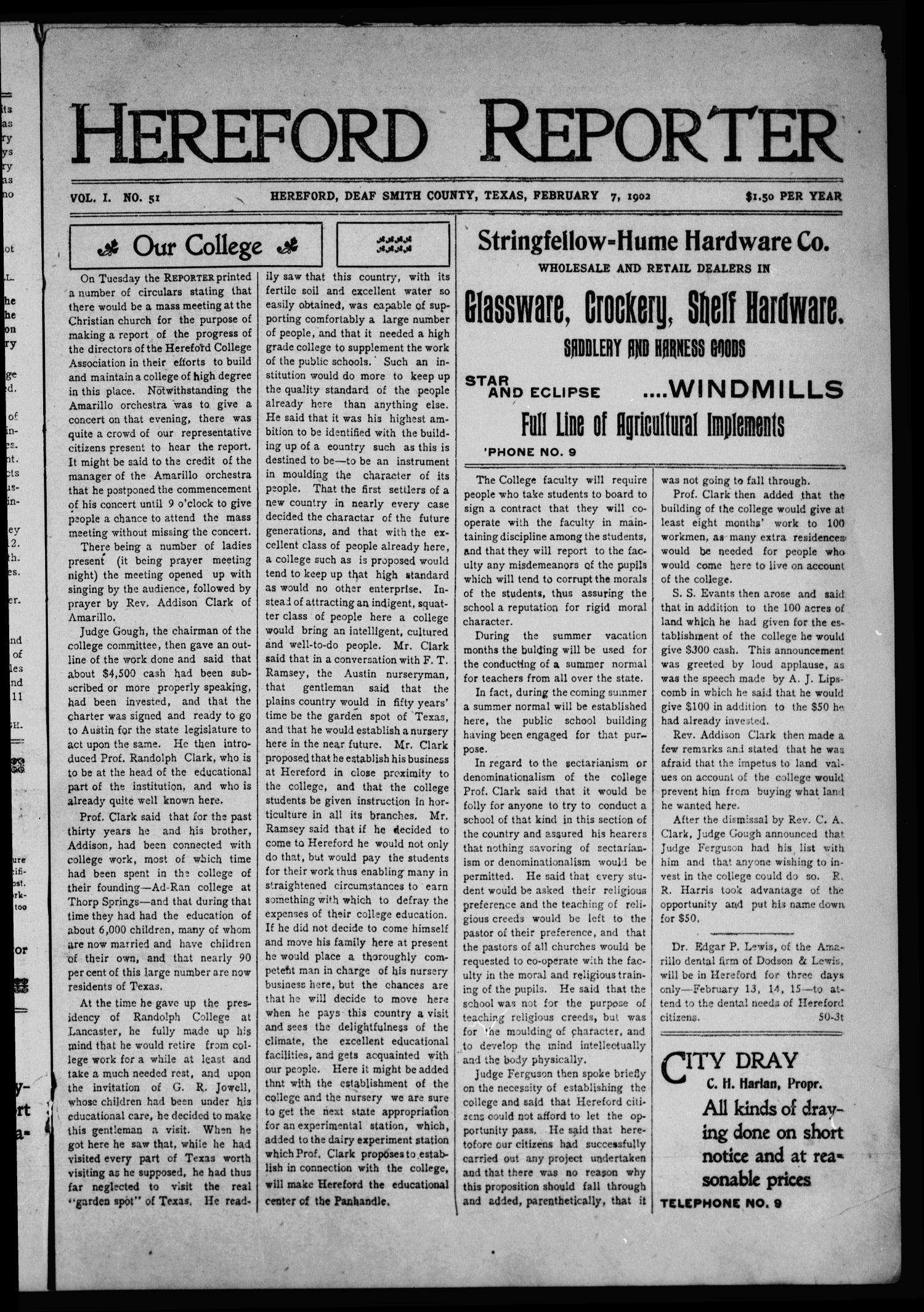 Hereford Reporter (Hereford, Tex.), Vol. 1, No. 51, Ed. 1 Friday, February 7, 1902                                                                                                      [Sequence #]: 1 of 8