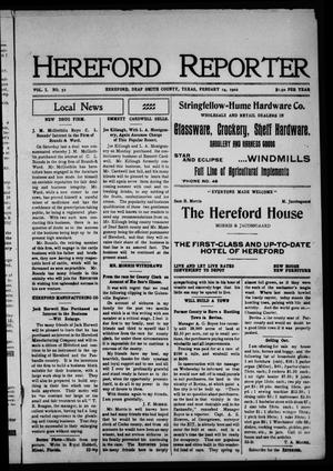 Primary view of object titled 'Hereford Reporter (Hereford, Tex.), Vol. 1, No. 52, Ed. 1 Friday, February 14, 1902'.