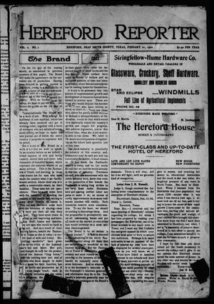 Primary view of object titled 'Hereford Reporter (Hereford, Tex.), Vol. 2, No. 1, Ed. 1 Friday, February 21, 1902'.