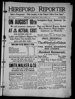 Hereford Reporter (Hereford, Tex.), Vol. 1, No. 25, Ed. 1 Friday, August 9, 1901