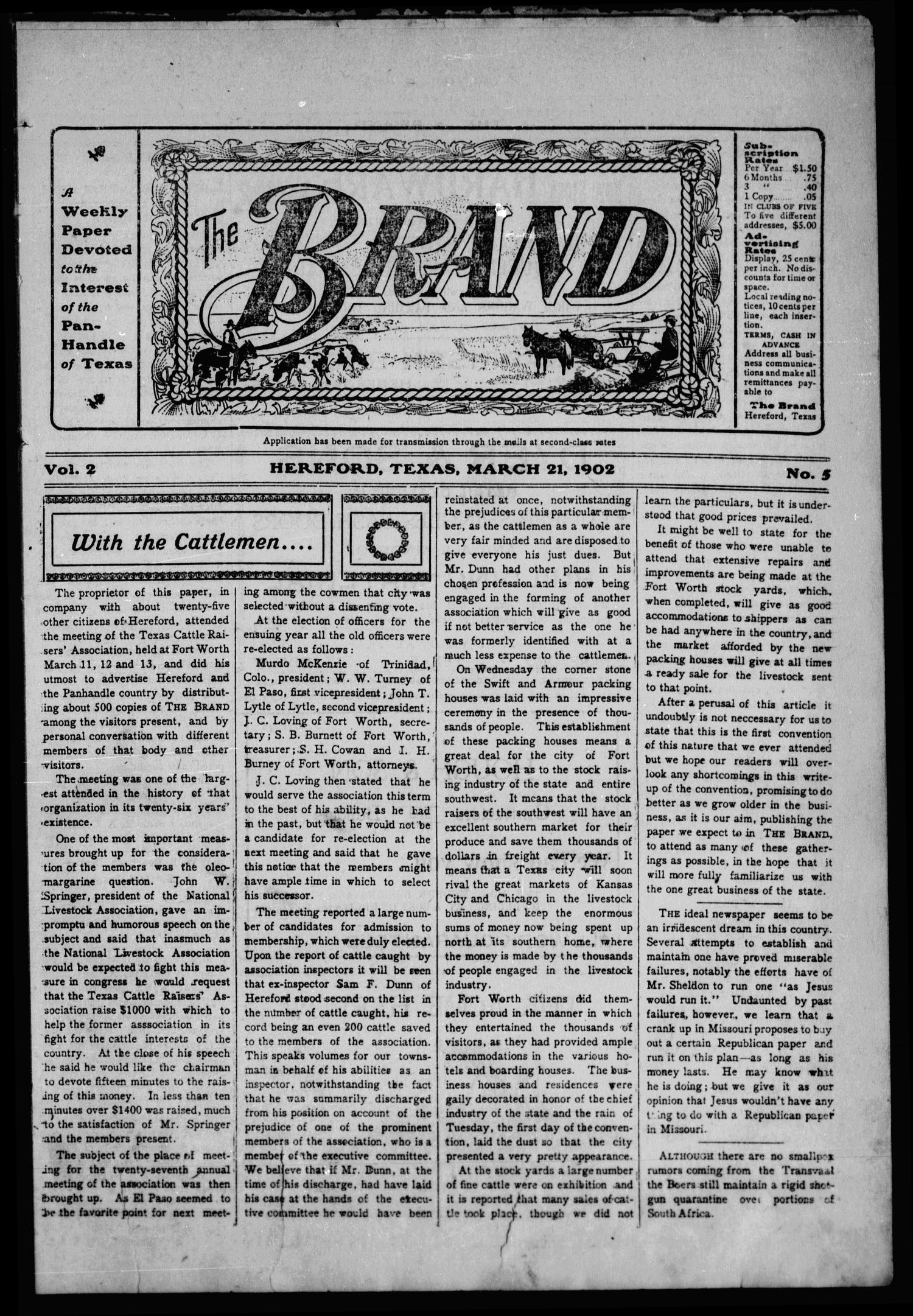 The Brand (Hereford, Tex.), Vol. 2, No. 5, Ed. 1 Friday, March 21, 1902                                                                                                      [Sequence #]: 1 of 16