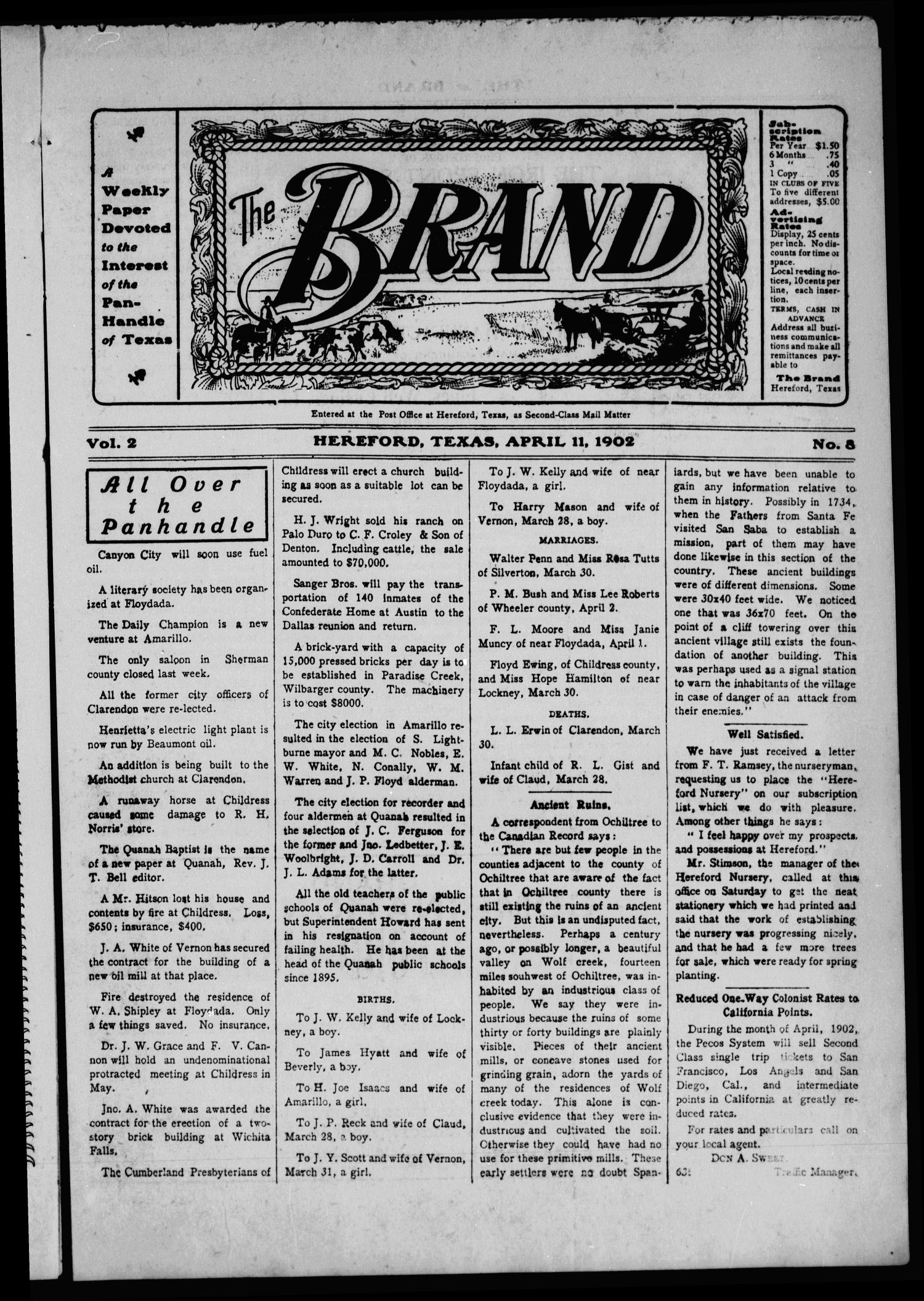 The Brand (Hereford, Tex.), Vol. 2, No. 8, Ed. 1 Friday, April 11, 1902                                                                                                      [Sequence #]: 1 of 12