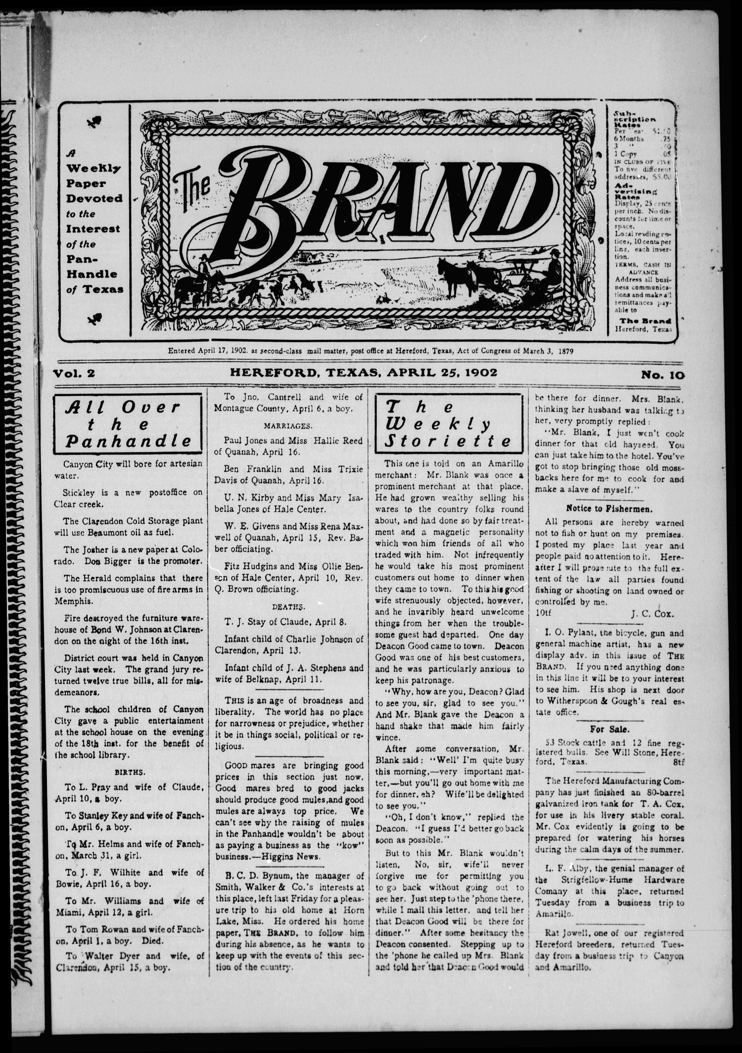 The Brand (Hereford, Tex.), Vol. 2, No. 10, Ed. 1 Friday, April 25, 1902                                                                                                      [Sequence #]: 1 of 12