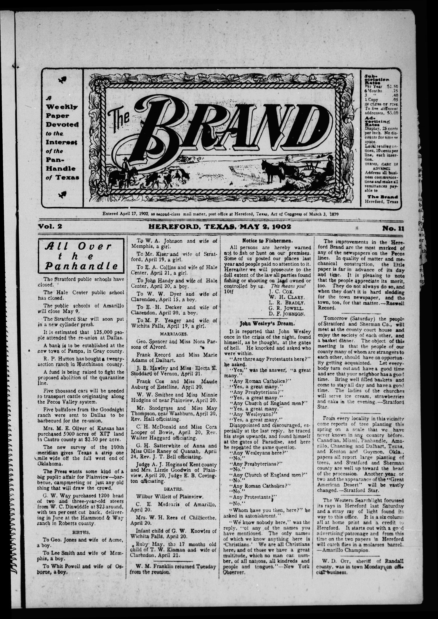 The Brand (Hereford, Tex.), Vol. 2, No. 11, Ed. 1 Friday, May 2, 1902                                                                                                      [Sequence #]: 1 of 12