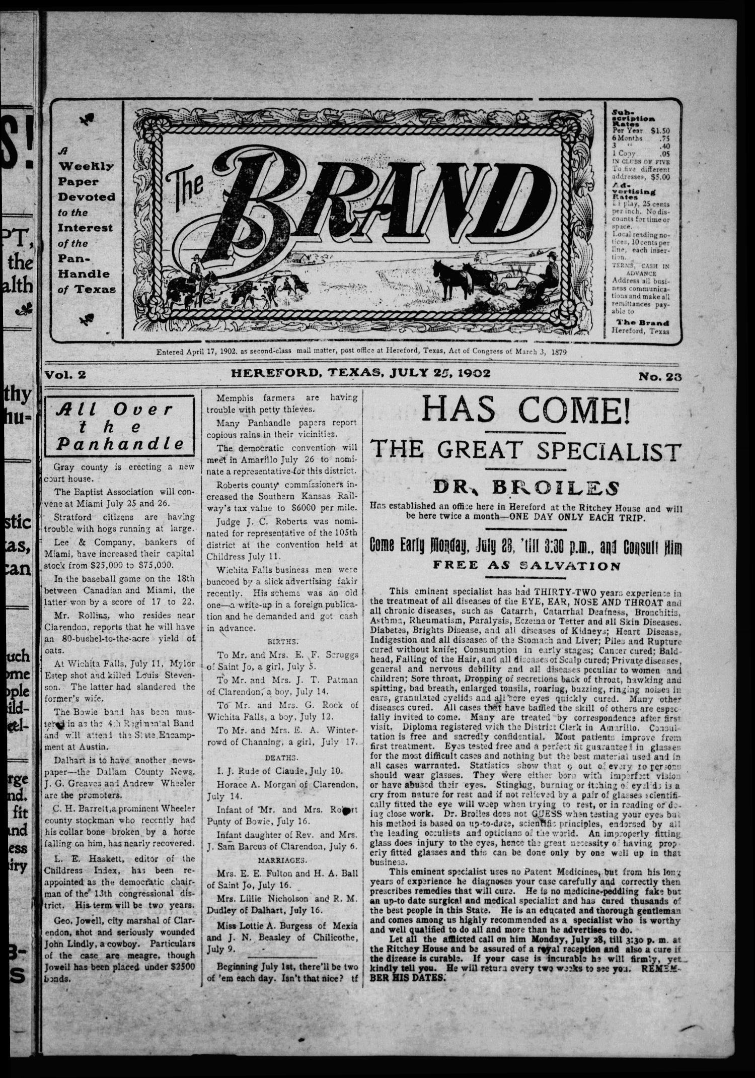The Brand (Hereford, Tex.), Vol. 2, No. 23, Ed. 1 Friday, July 25, 1902                                                                                                      [Sequence #]: 1 of 12
