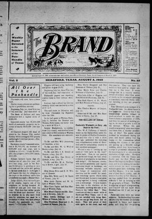 Primary view of object titled 'The Brand (Hereford, Tex.), Vol. 2, No. 25, Ed. 1 Friday, August 8, 1902'.
