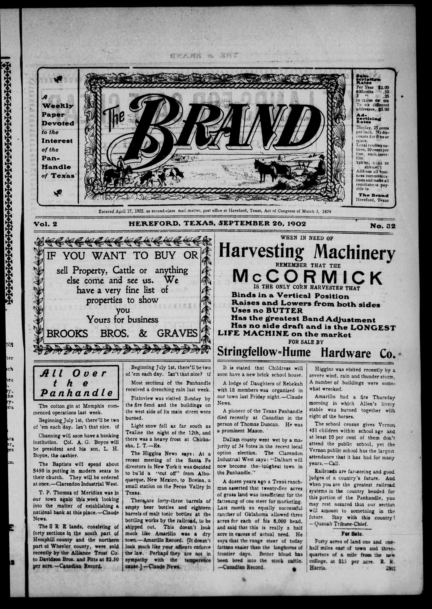 The Brand (Hereford, Tex.), Vol. 2, No. 32, Ed. 1 Friday, September 26, 1902                                                                                                      [Sequence #]: 1 of 14