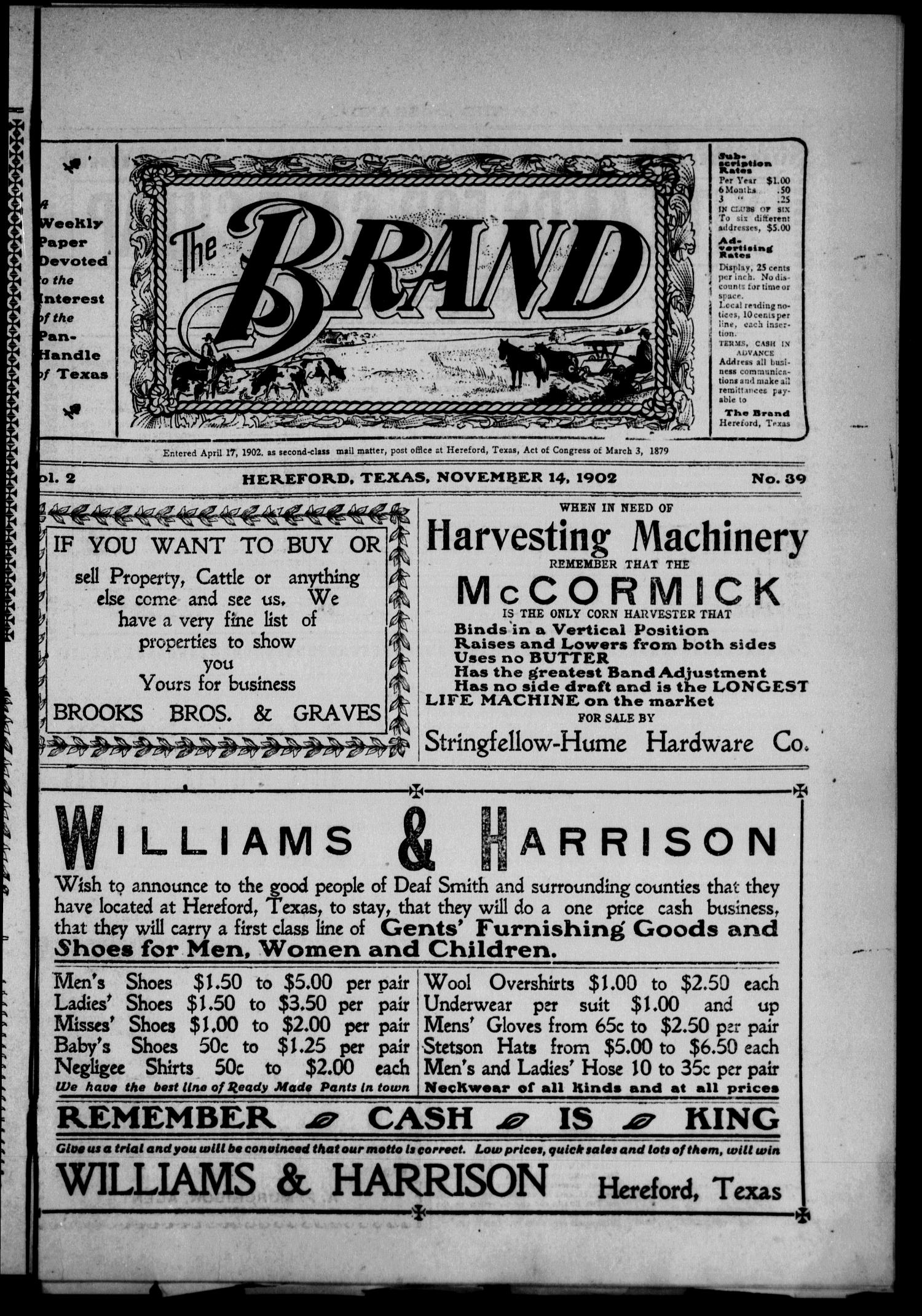 The Brand (Hereford, Tex.), Vol. 2, No. 39, Ed. 1 Friday, November 14, 1902                                                                                                      [Sequence #]: 1 of 12