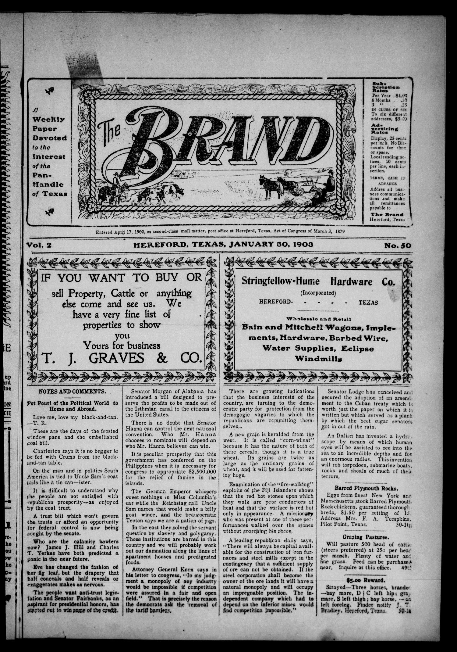 The Brand (Hereford, Tex.), Vol. 2, No. 50, Ed. 1 Friday, January 30, 1903                                                                                                      [Sequence #]: 1 of 12