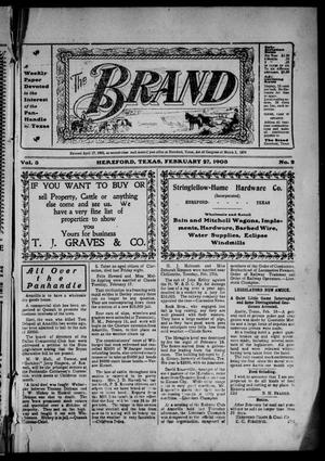 Primary view of object titled 'The Brand (Hereford, Tex.), Vol. 3, No. 2, Ed. 1 Friday, February 27, 1903'.