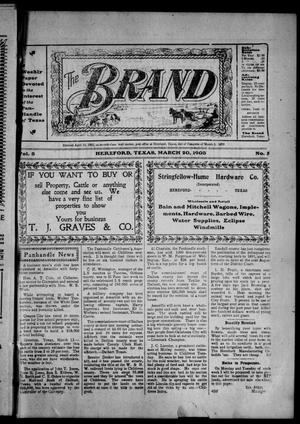 Primary view of object titled 'The Brand (Hereford, Tex.), Vol. 3, No. 5, Ed. 1 Friday, March 20, 1903'.