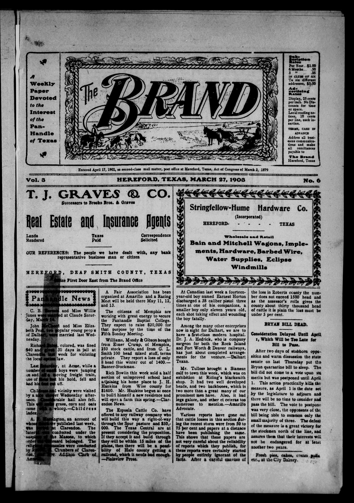 The Brand (Hereford, Tex.), Vol. 3, No. 6, Ed. 1 Friday, March 27, 1903                                                                                                      [Sequence #]: 1 of 13
