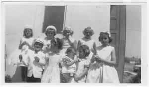 Primary view of object titled 'Ann Sammons and Presbyterian Children on Easter Sunday 1963'.