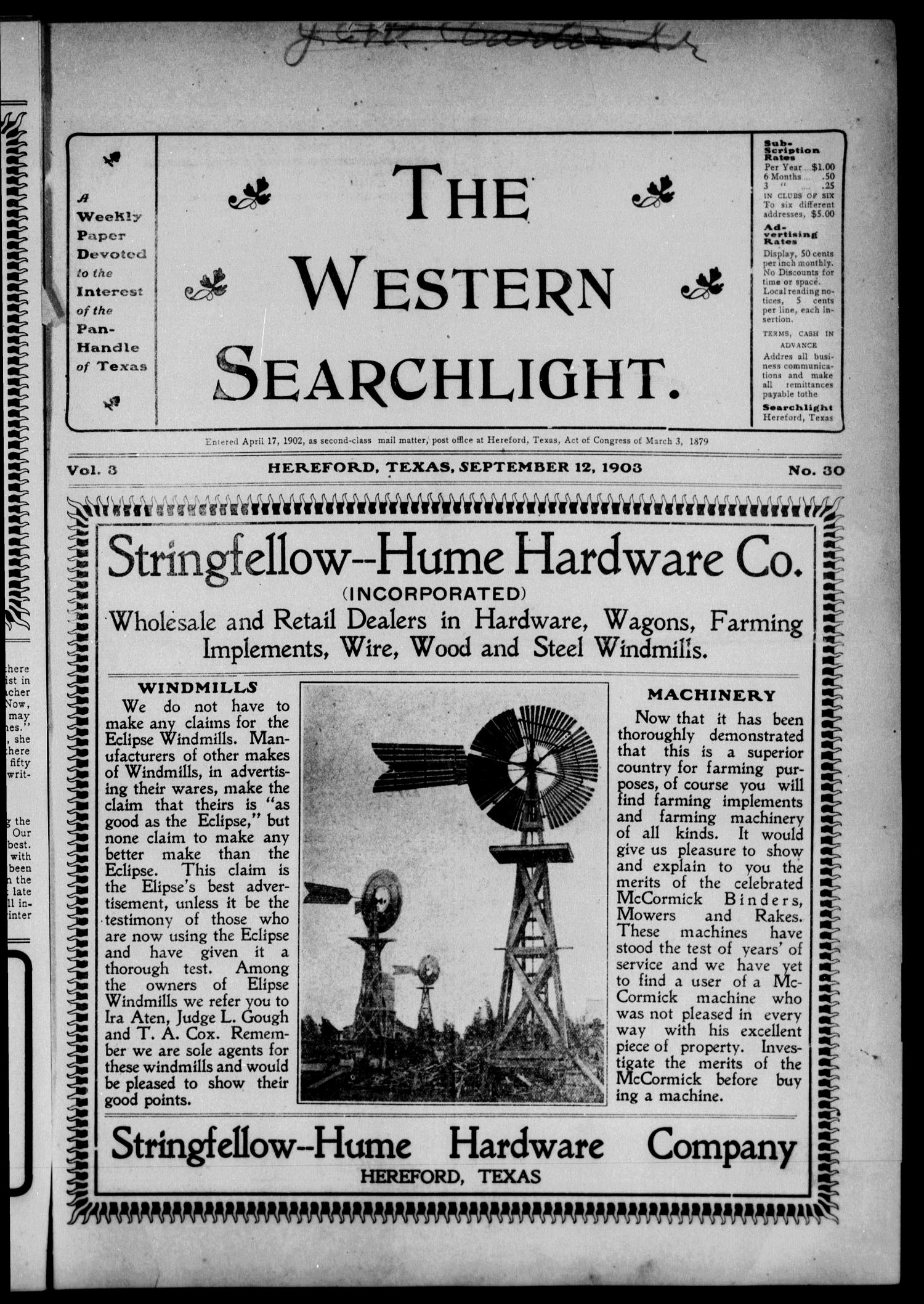 The Western Searchlight (Hereford, Tex.), Vol. 3, No. 30, Ed. 1 Saturday, September 12, 1903                                                                                                      [Sequence #]: 1 of 14