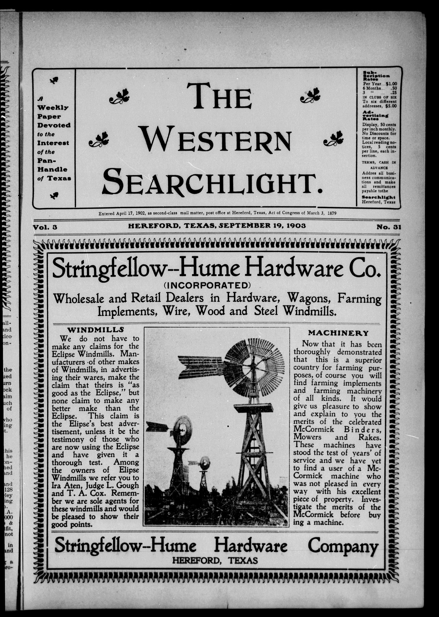 The Western Searchlight (Hereford, Tex.), Vol. 3, No. 31, Ed. 1 Saturday, September 19, 1903                                                                                                      [Sequence #]: 1 of 12