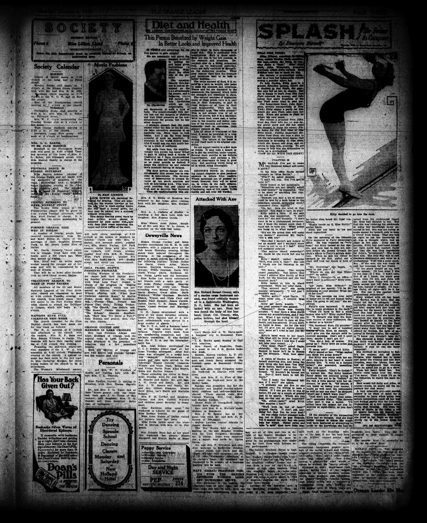 The Orange Leader Tex Vol 17 No 59 Ed 1 Monday New Voltus Sport Mens Plait October 6 1930 Page 3 Of 4 Portal To Texas History