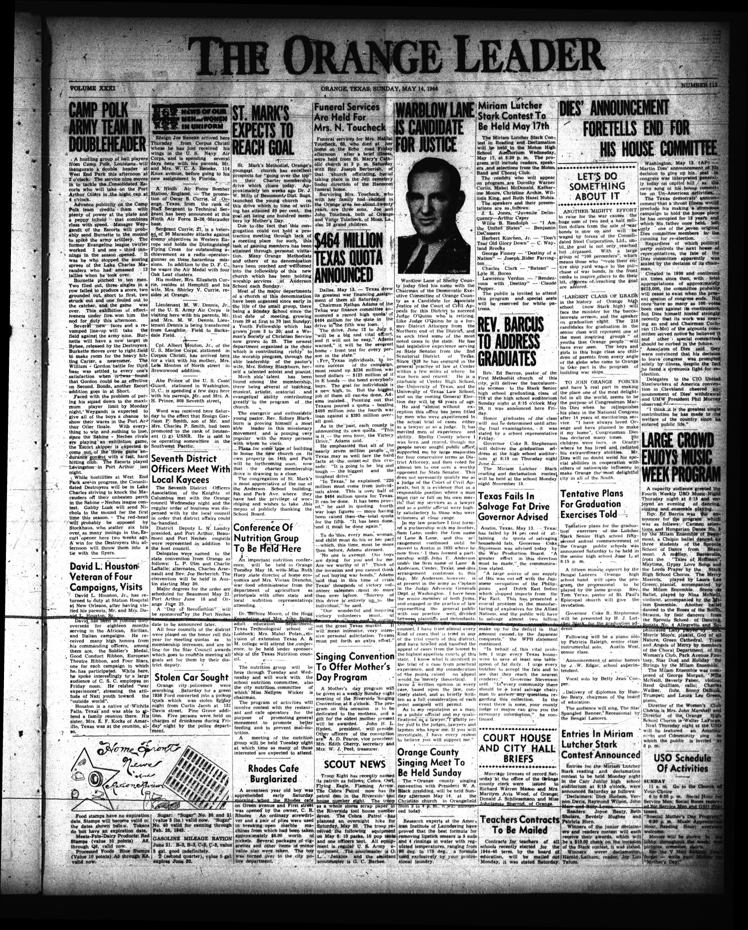 The Orange Leader (Orange, Tex.), Vol. 31, No. 113, Ed. 1 Sunday, May 14, 1944                                                                                                      [Sequence #]: 1 of 4