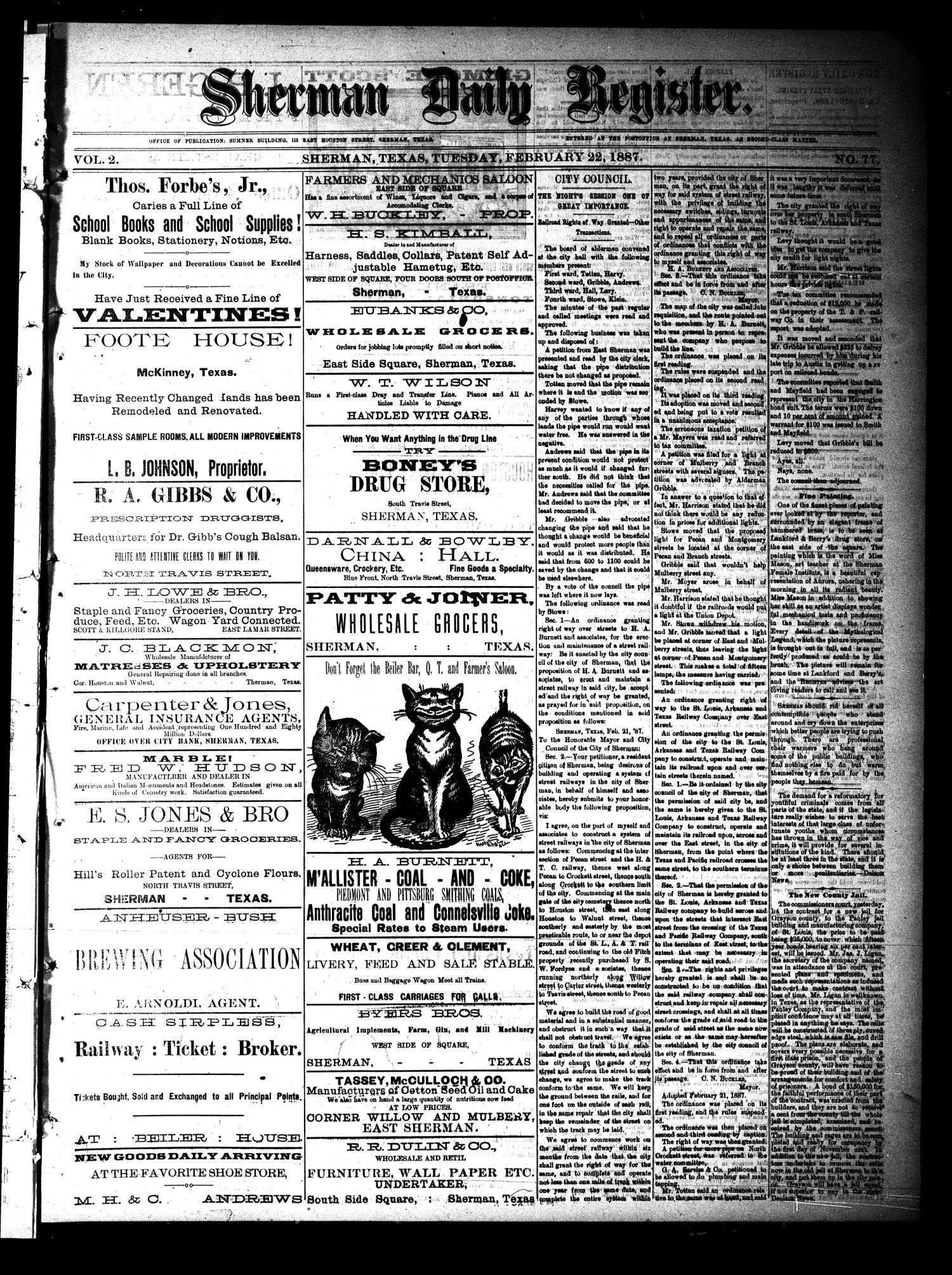 Sherman Daily Register (Sherman, Tex.), Vol. 2, No. 77, Ed. 1 Tuesday, February 22, 1887                                                                                                      [Sequence #]: 1 of 4