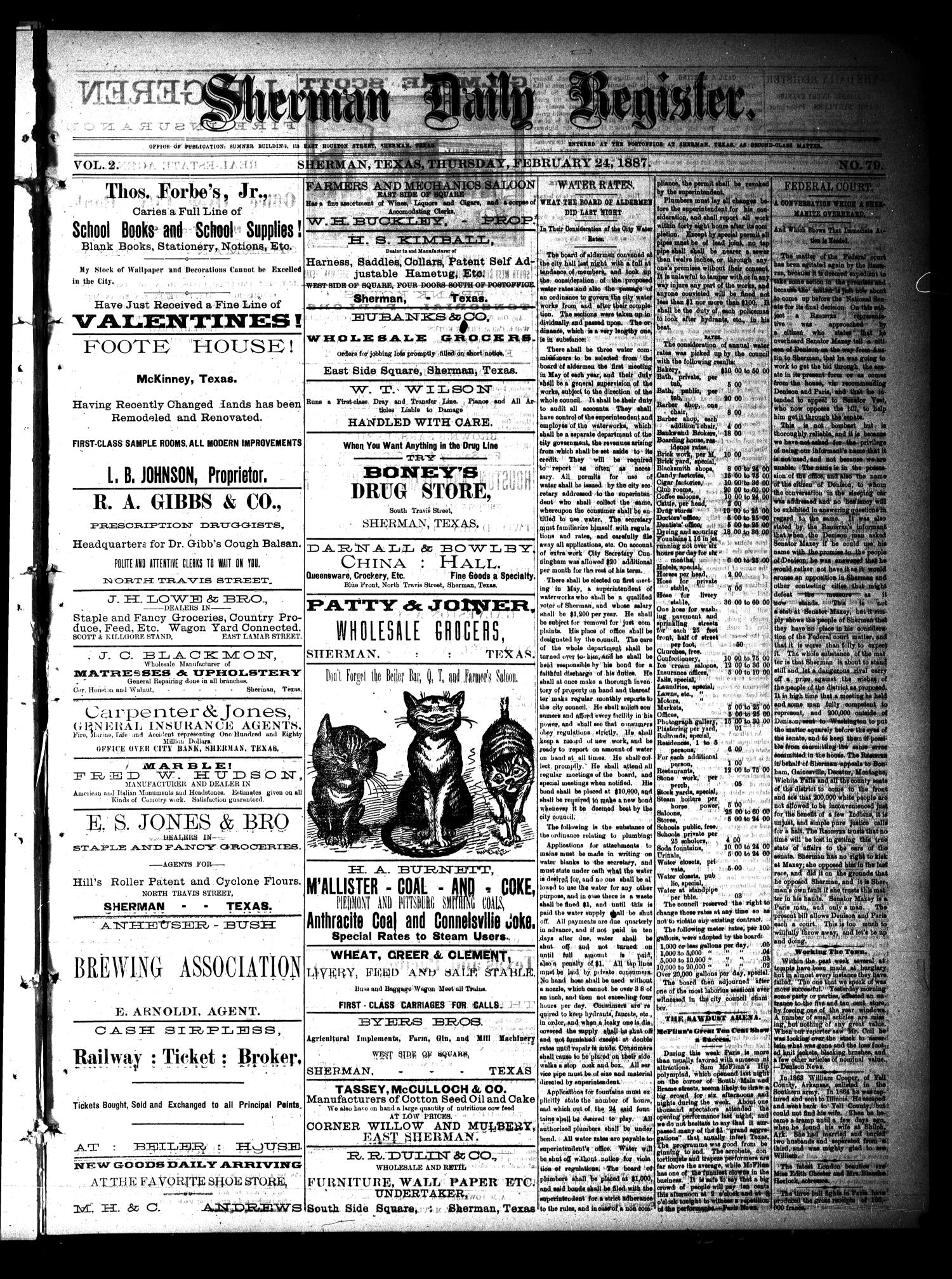 Sherman Daily Register (Sherman, Tex.), Vol. 2, No. 79, Ed. 1 Thursday, February 24, 1887                                                                                                      [Sequence #]: 1 of 4