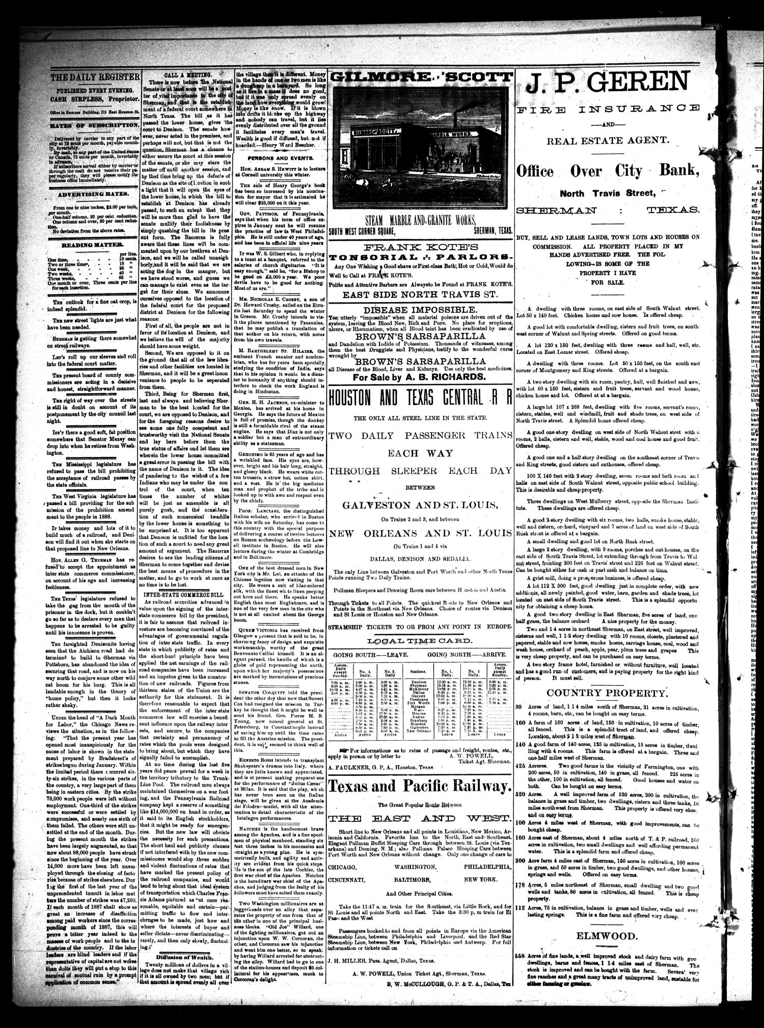 Sherman Daily Register (Sherman, Tex.), Vol. 2, No. 79, Ed. 1 Thursday, February 24, 1887                                                                                                      [Sequence #]: 2 of 4