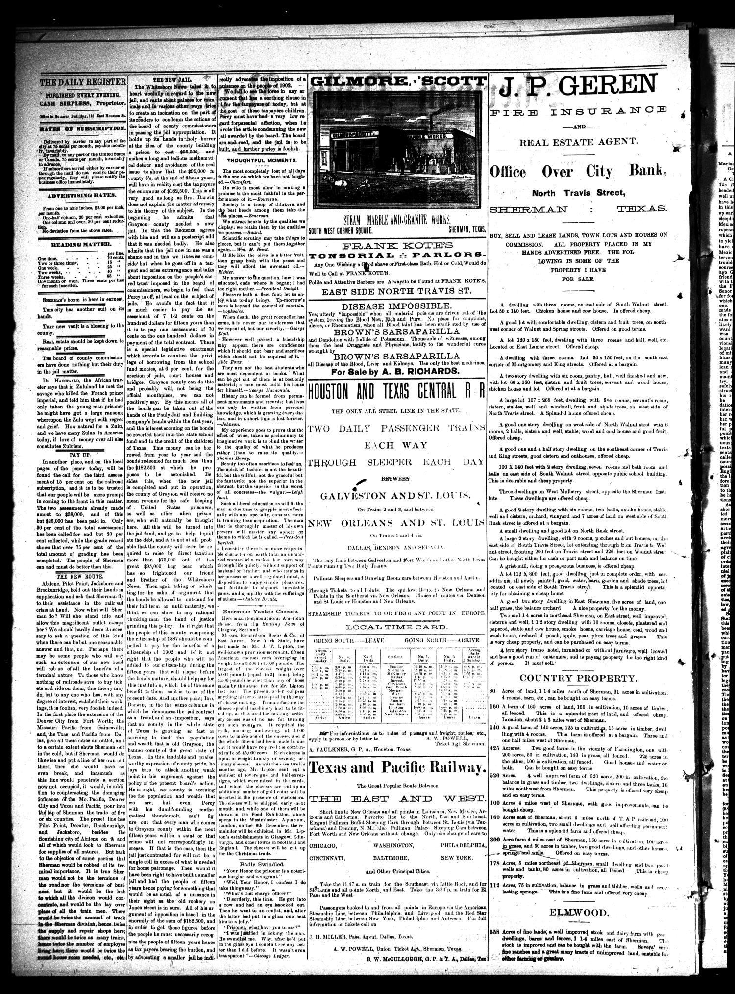Sherman Daily Register (Sherman, Tex.), Vol. 2, No. 81, Ed. 1 Saturday, February 26, 1887                                                                                                      [Sequence #]: 2 of 4
