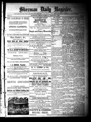 Primary view of object titled 'Sherman Daily Register (Sherman, Tex.), Vol. 2, No. 89, Ed. 1 Tuesday, March 8, 1887'.