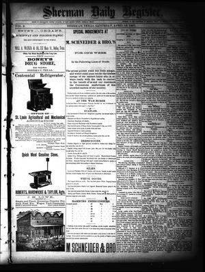 Primary view of object titled 'Sherman Daily Register (Sherman, Tex.), Vol. 2, No. 123, Ed. 1 Saturday, April 16, 1887'.