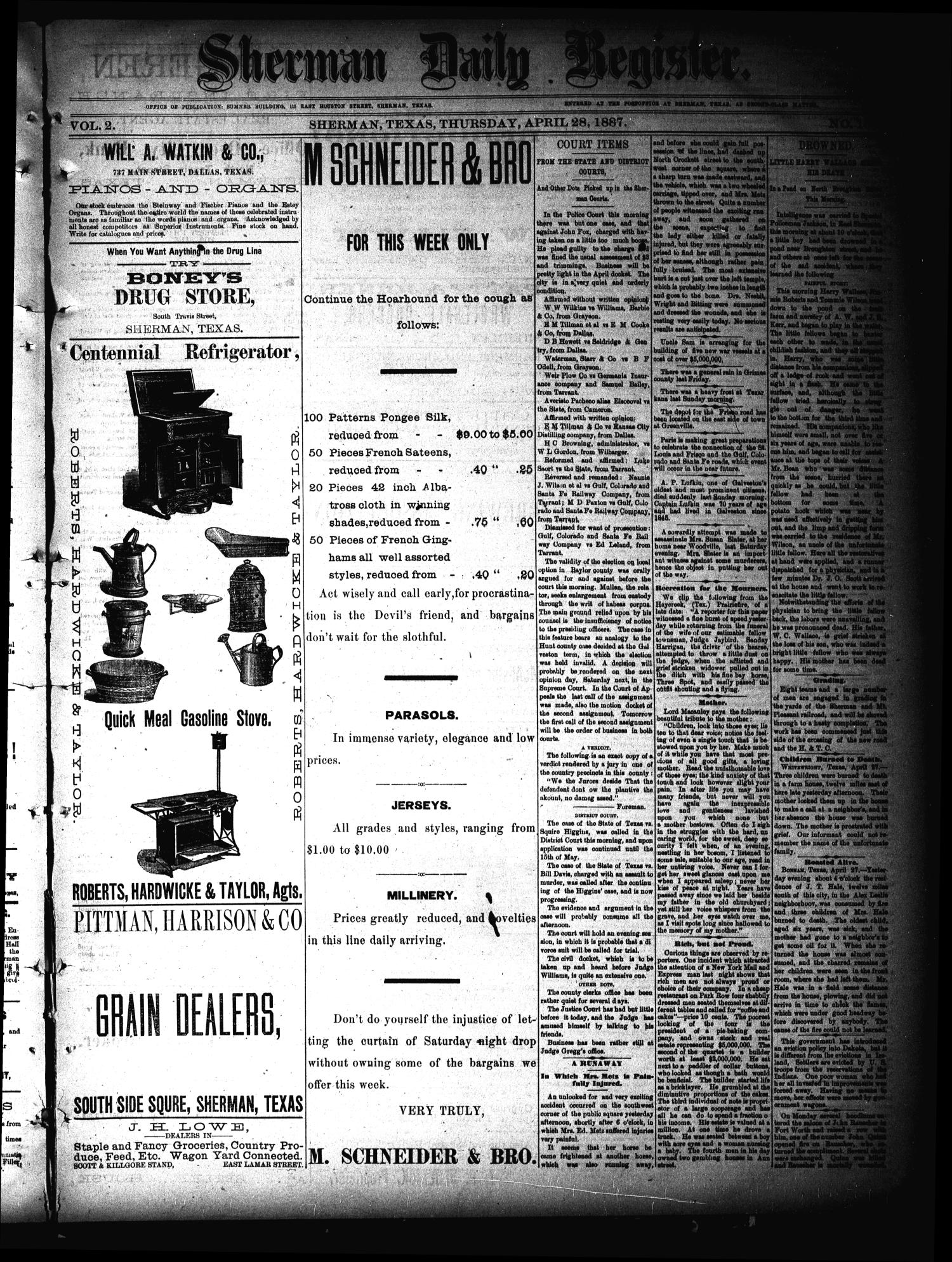 Sherman Daily Register (Sherman, Tex.), Vol. 2, No. 133, Ed. 1 Thursday, April 28, 1887                                                                                                      [Sequence #]: 1 of 4