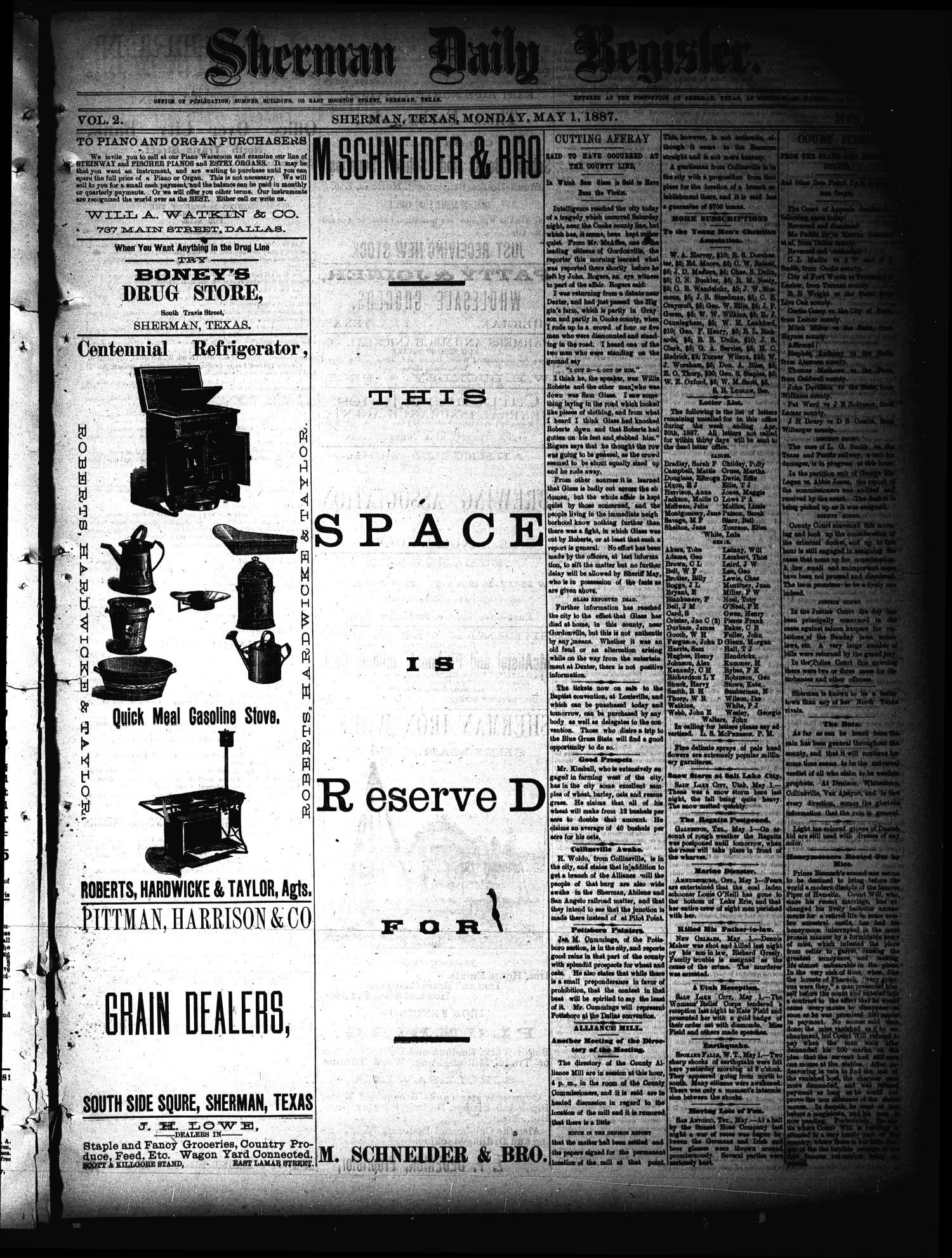 Sherman Daily Register (Sherman, Tex.), Vol. 2, No. 136, Ed. 1 Monday, May 2, 1887                                                                                                      [Sequence #]: 1 of 4