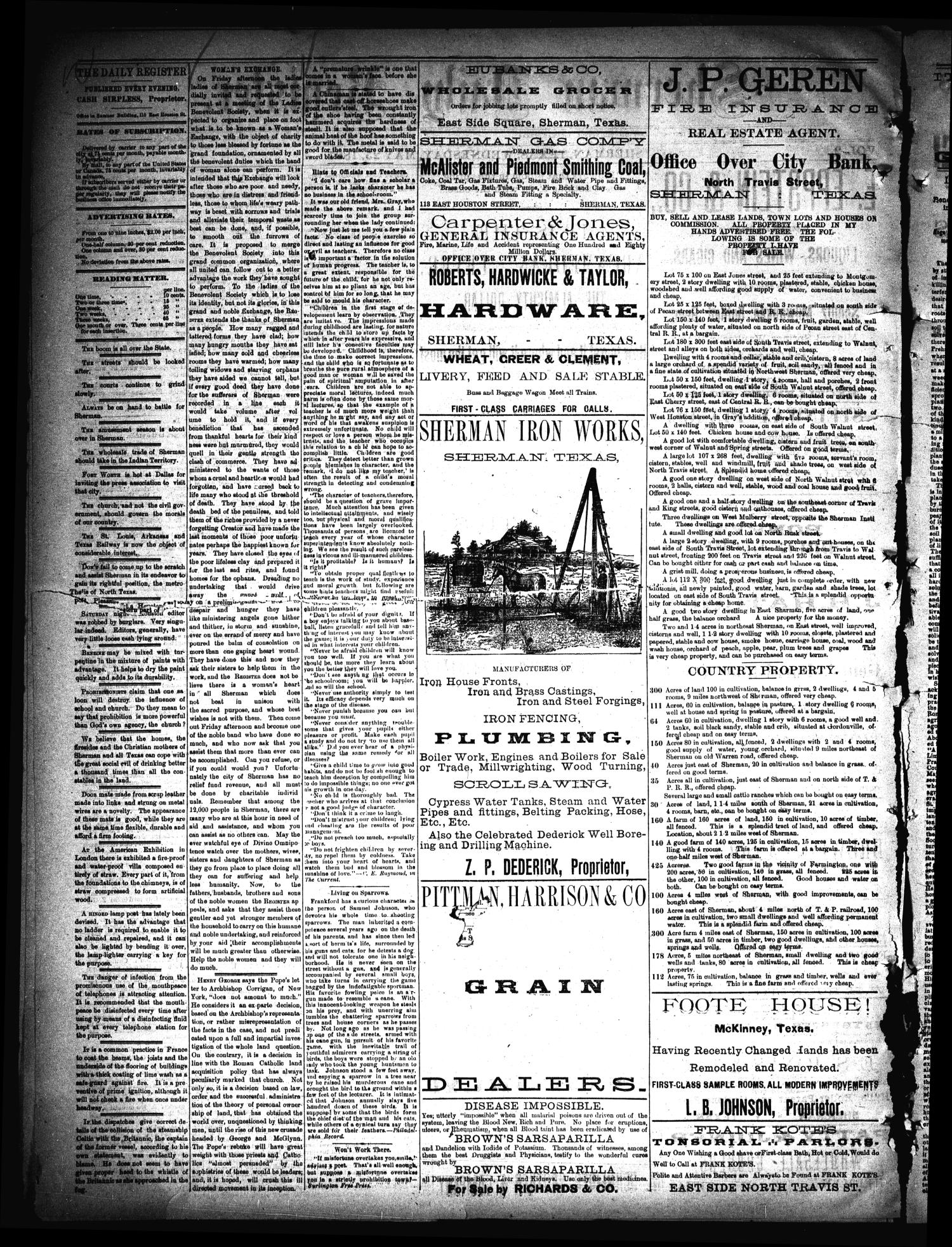 Sherman Daily Register (Sherman, Tex.), Vol. 2, No. 156, Ed. 1 Wednesday, May 25, 1887                                                                                                      [Sequence #]: 2 of 4