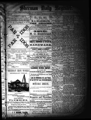 Primary view of object titled 'Sherman Daily Register (Sherman, Tex.), Vol. 2, No. 247, Ed. 1 Thursday, September 8, 1887'.