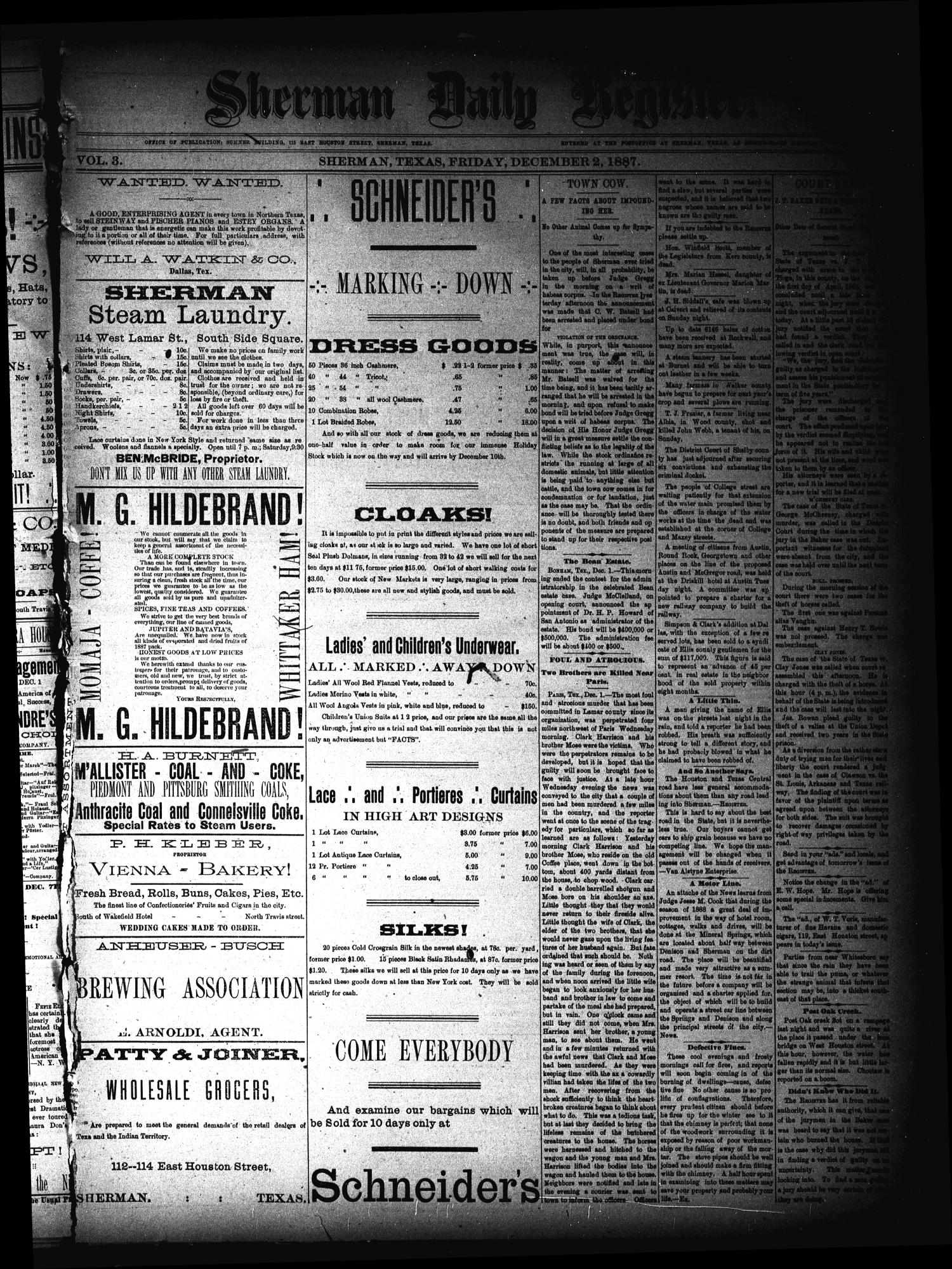 Sherman Daily Register (Sherman, Tex.), Vol. 3, No. 7, Ed. 1 Friday, December 2, 1887                                                                                                      [Sequence #]: 1 of 4