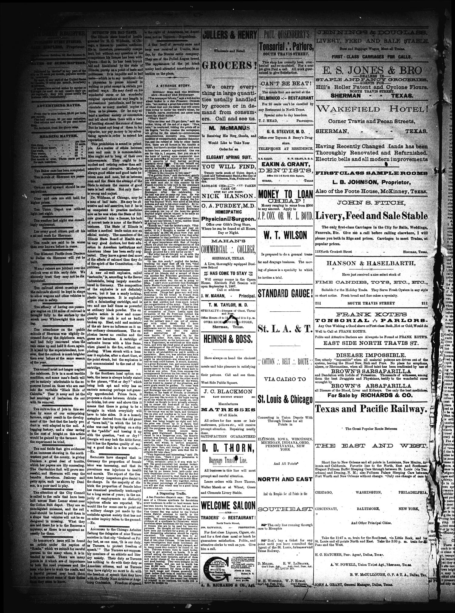 Sherman Daily Register (Sherman, Tex.), Vol. 3, No. 7, Ed. 1 Friday, December 2, 1887                                                                                                      [Sequence #]: 2 of 4