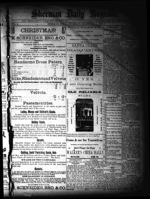 Primary view of object titled 'Sherman Daily Register (Sherman, Tex.), Vol. 3, No. 18, Ed. 1 Thursday, December 15, 1887'.