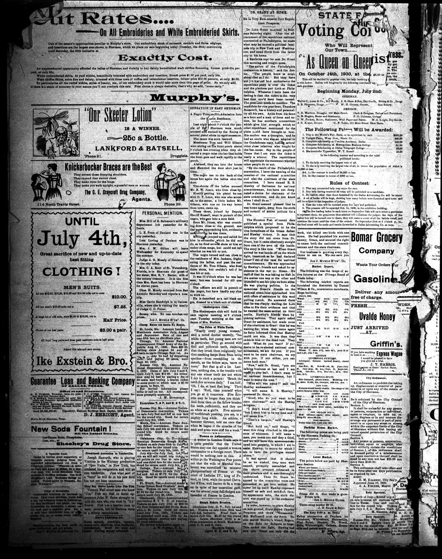 Sherman Daily Register (Sherman, Tex.), Vol. 15, No. 116, Ed. 1 Monday, July 2, 1900                                                                                                      [Sequence #]: 4 of 4