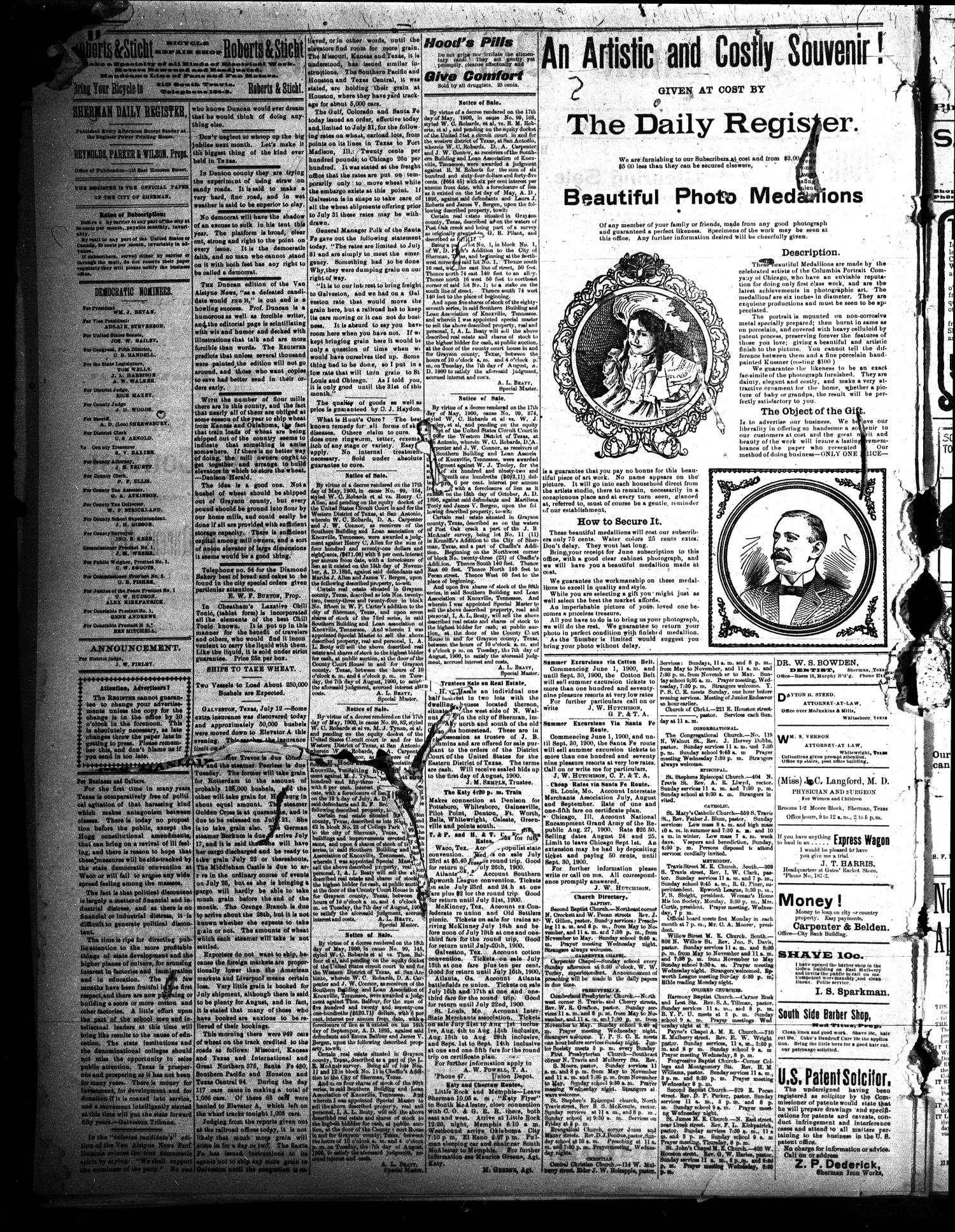 Sherman Daily Register (Sherman, Tex.), Vol. 15, No. 128, Ed. 1 Friday, July 13, 1900                                                                                                      [Sequence #]: 2 of 4