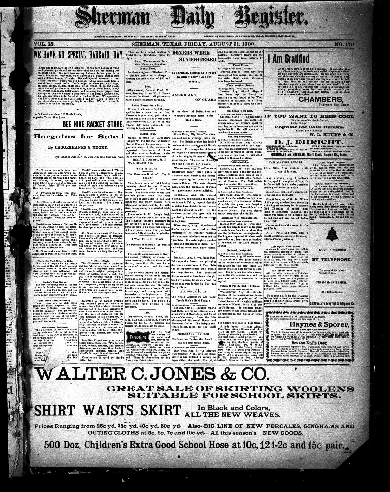 Sherman Daily Register (Sherman, Tex.), Vol. 15, No. 170, Ed. 1 Friday, August 31, 1900                                                                                                      [Sequence #]: 1 of 4