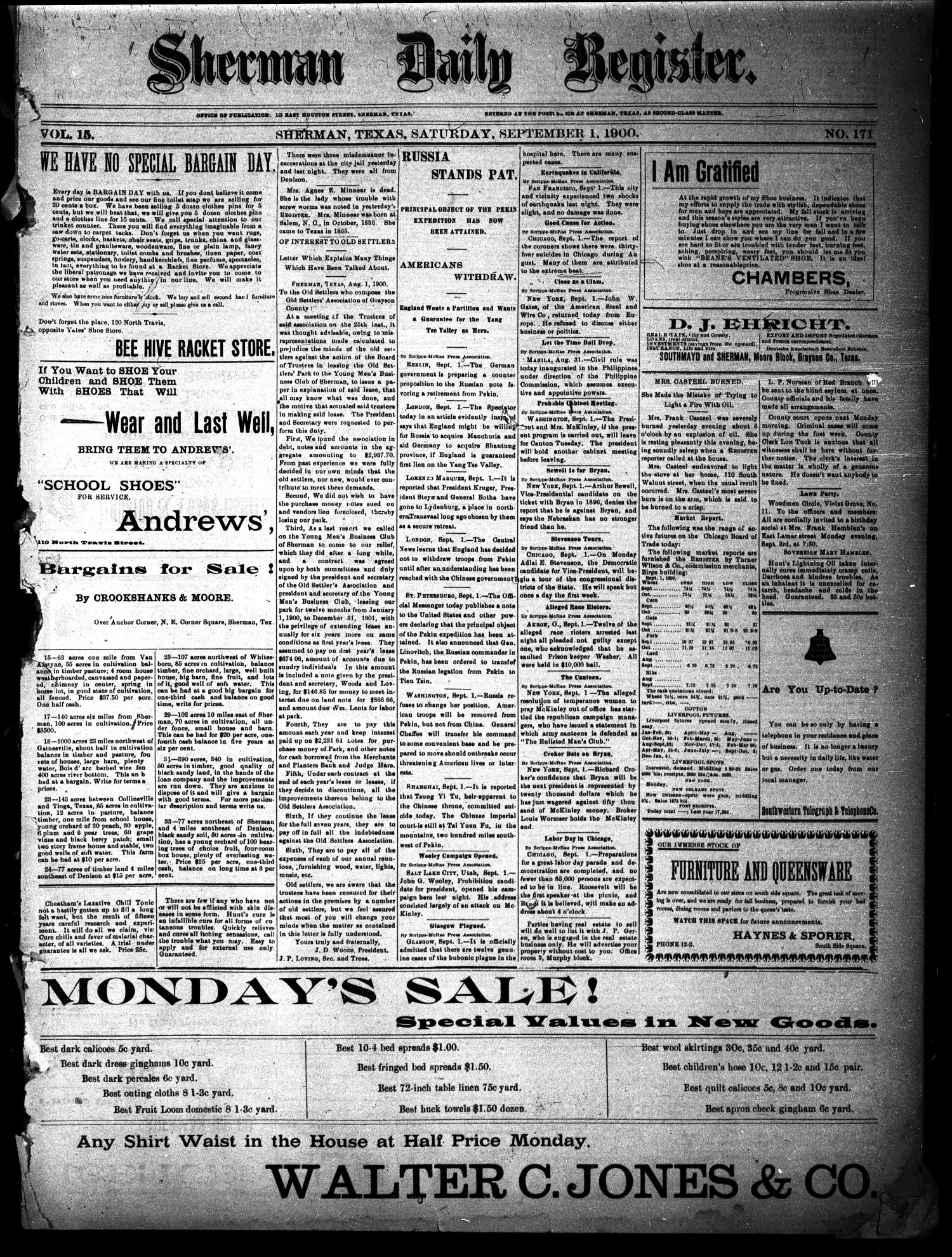 Sherman Daily Register (Sherman, Tex.), Vol. 15, No. 171, Ed. 1 Saturday, September 1, 1900                                                                                                      [Sequence #]: 1 of 4