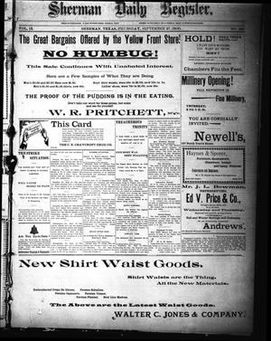 Sherman Daily Register (Sherman, Tex.), Vol. 15, No. 193, Ed. 1 Thursday, September 27, 1900